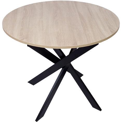 table a manger ronde fixe salon modele zen couleur chene pieds metalliques mesure 100x100x75cm de haut