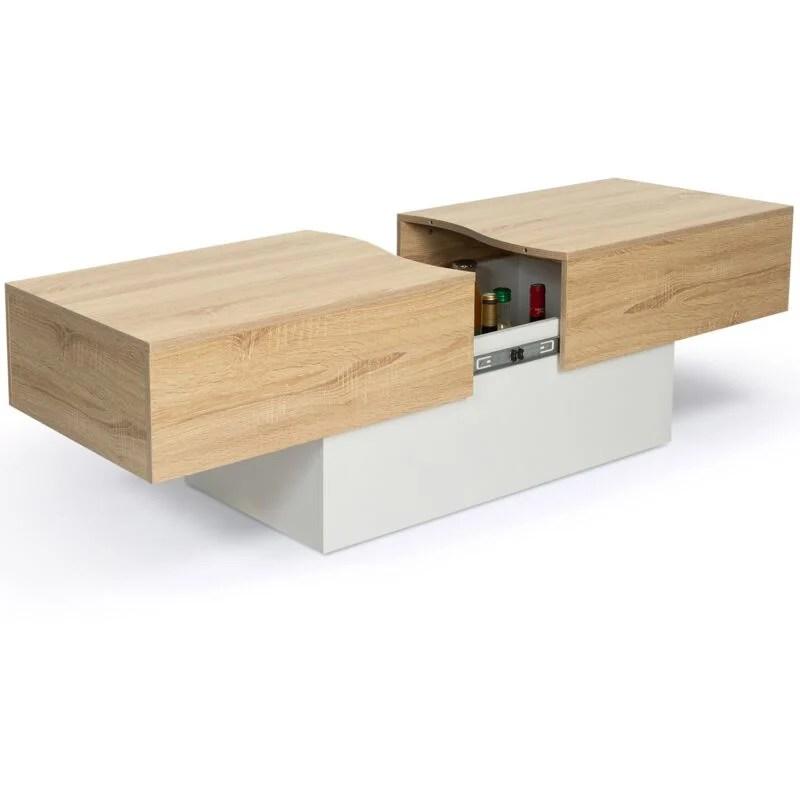 table basse bar coulissante marta bois blanc et imitation hetre