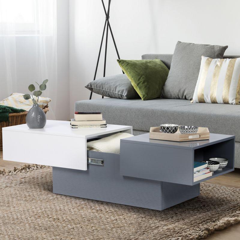 table basse coulissante maria bois blanc et gris