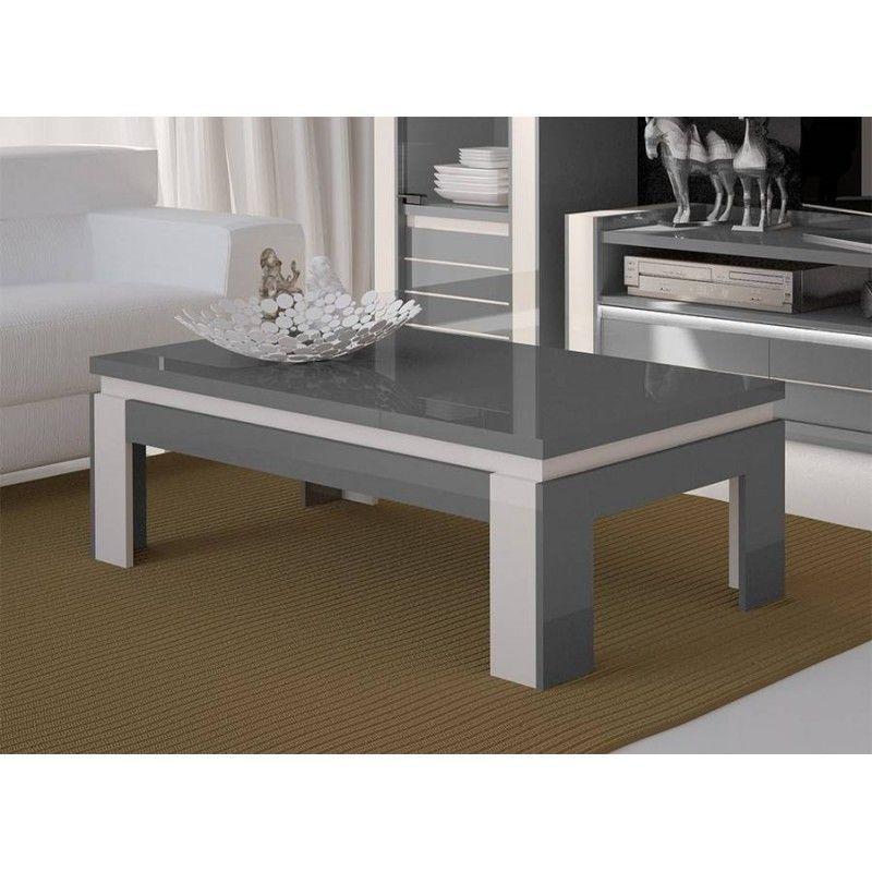 table basse design lina grise et blanche brillante style moderne et design pour votre salon gris