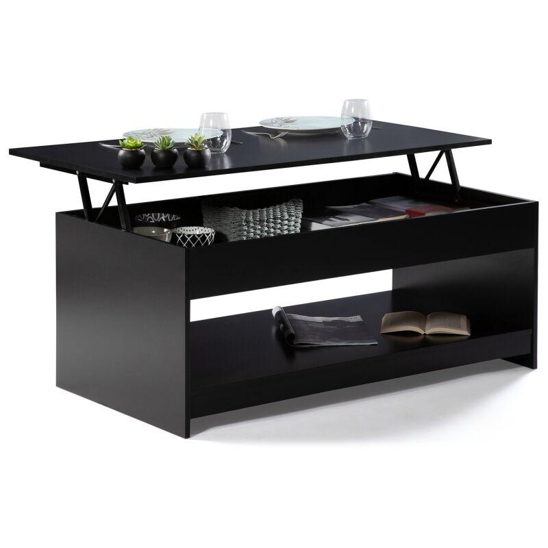 table basse plateau relevable soa bois noir