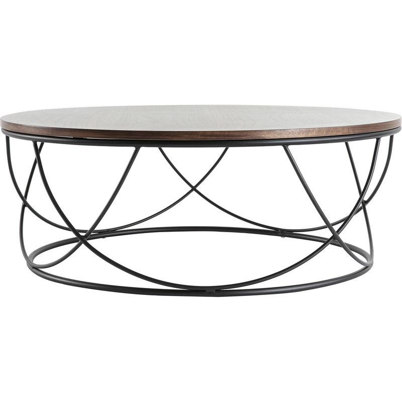 table basse ronde bois metal d80 x h30 cm lace