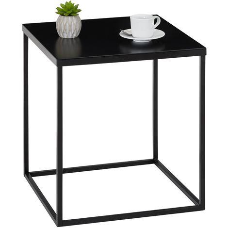 table d appoint hilar table basse de salon table a cafe bout de canape design retro vintage industriel plateau carre en metal noir