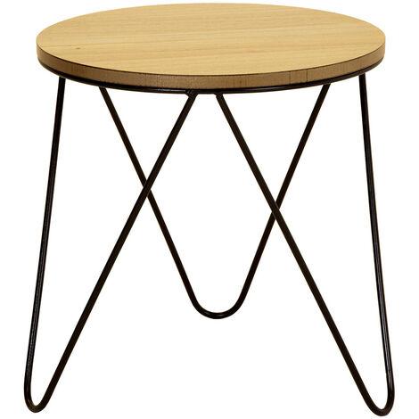 table d appoint industrielle ronde en bois et metal en epingle a cheveux charles