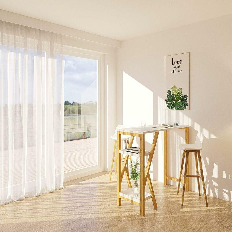 table de bar table haute de bar mange debout cuisine avec 2 etageres de rangement pied en forme k blanc sobuy fwt56 w
