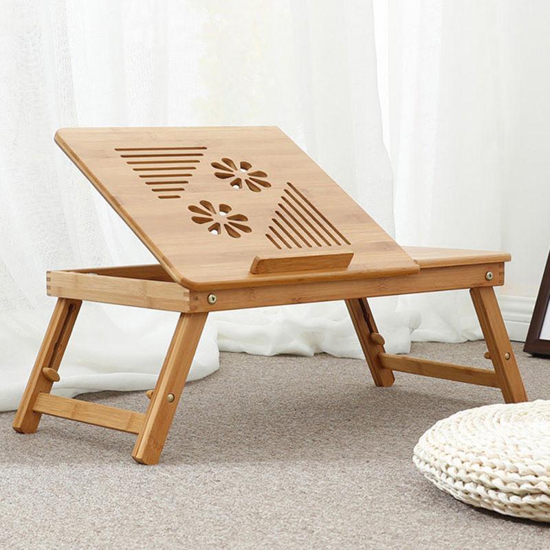 table pour ordinateur portable plateau de lit pliable bureau ajustable avec grande ventilation materiau bambou