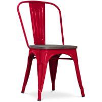 Tolix Stuhl Holz Pauchard Style Neuauflage   Metall Rot ...
