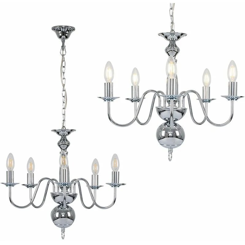 Traditional 5 Way Flemish Ceiling Light Chandelier Fitting