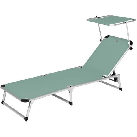 dim chaise longue vert en acier et