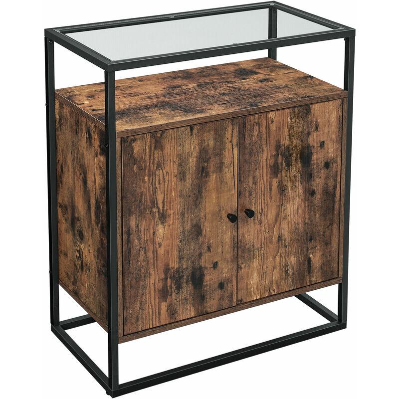 vasagle buffet meuble de rangement placard de cuisine dessus en verre trempe pour salon couloir bureau cadre en acier stable style industriel