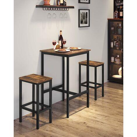 https www manomano fr p vasagle table haute table de bar carree cadre en acier robuste 60 x 60 x 90 cm montage facile pour cuisine salon style industriel marron rustique et noir par songmics lbt25x 26580938