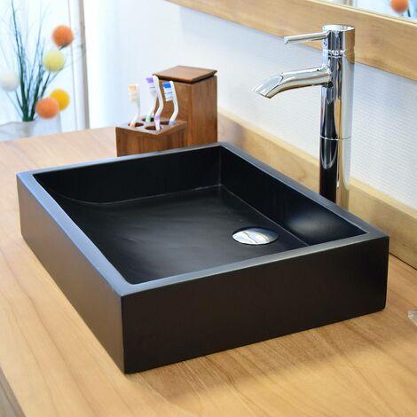 Vasque En Terrazzo Effet Beton Noir A Poser Coreal Noir Ksc Sdb 031