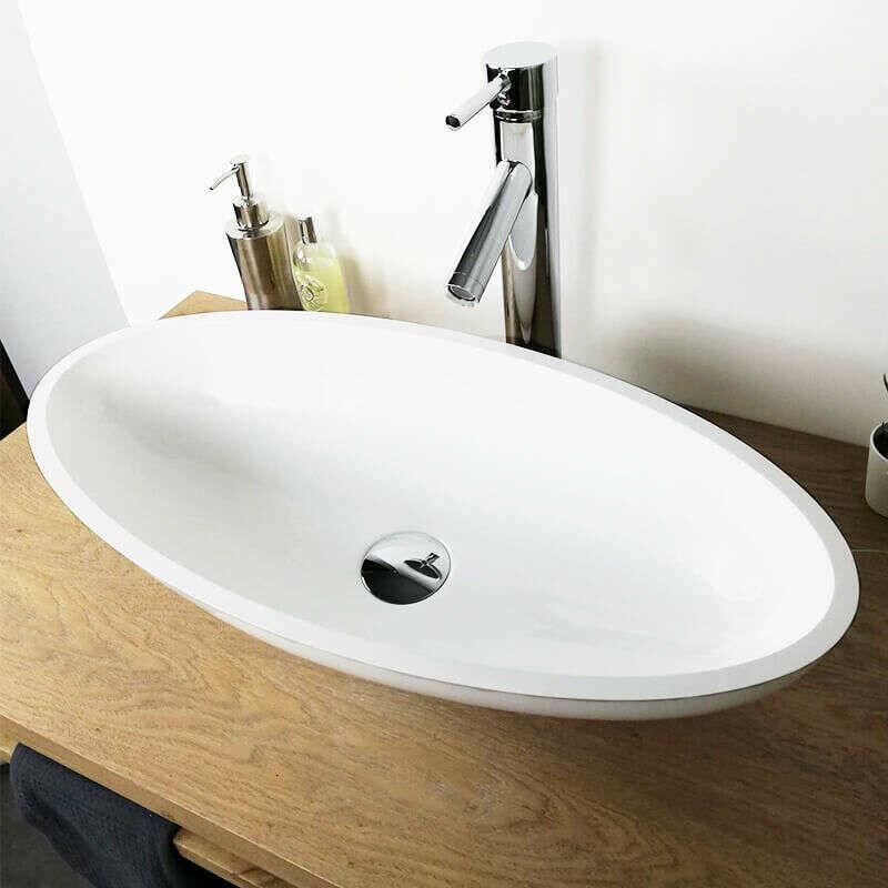 Vasque A Poser Ovale 60 Cm En Pierre De Synthese Finition Mat Enora Va Gc 007m