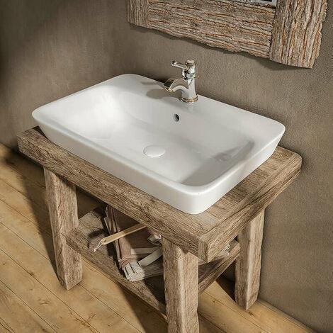 Vasque Rectangulaire 65 Cm A Poser En Ceramique Kenya Va Ce 3065
