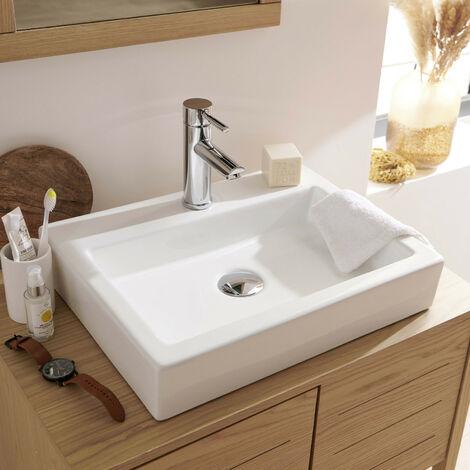 vasque salle de bain rectangulaire a poser en ceramique blanche l48 x p38 cm padi blanc