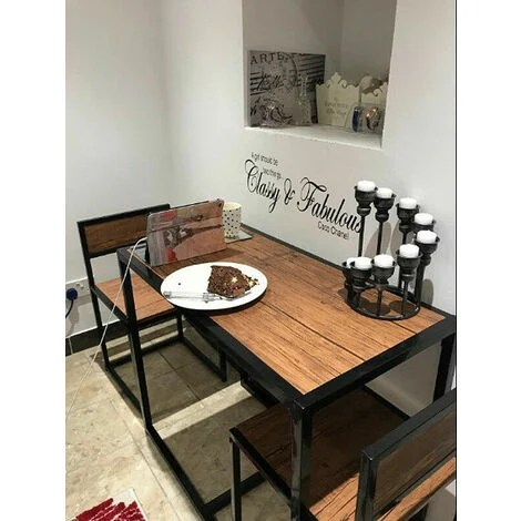 Vintage Industrial Dining Table Small Metal Furniture Set 2 Chair Bistro Rustic Kitchen
