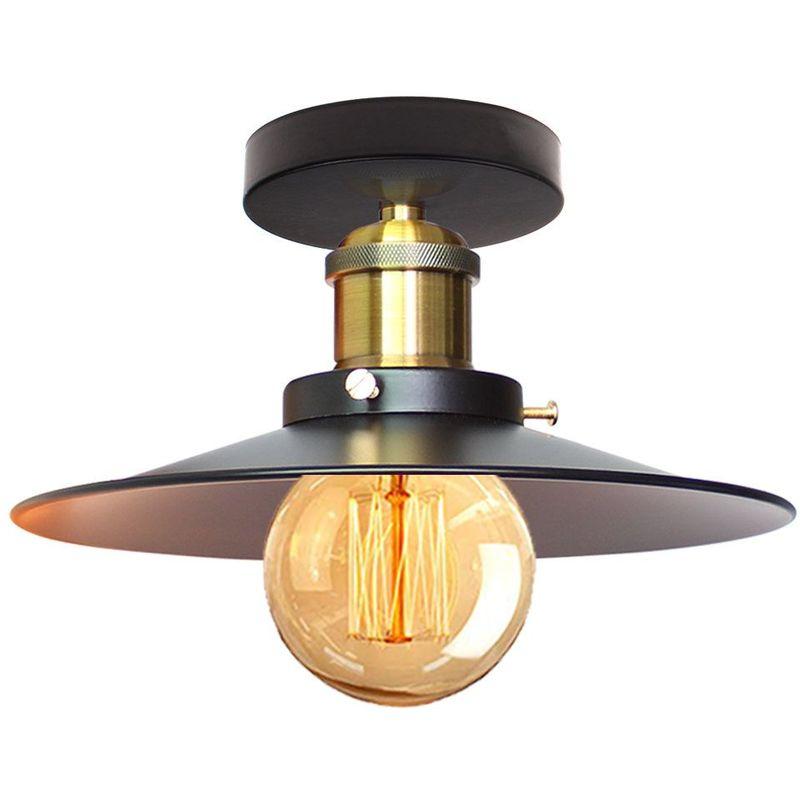 vintage plafonnier industriel retro en metal o22cm lustre luminaire l eclairage pour chambre salon cuisine couloir noir