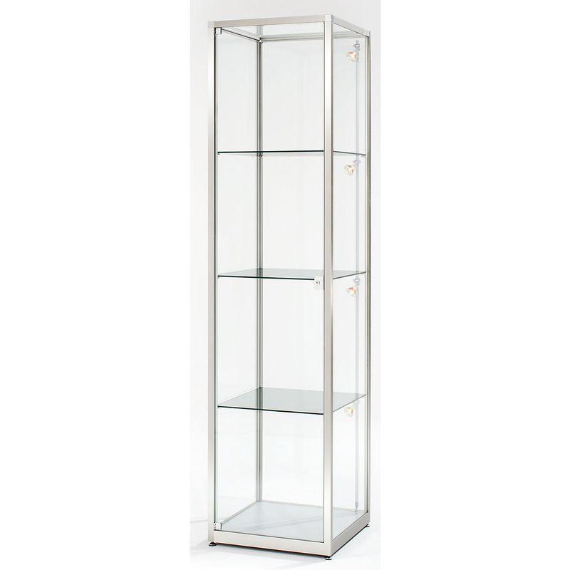 vitrine colonne hauteur 2000 mm 1 porte pivotante l x p 500 x 500 mm facon inox