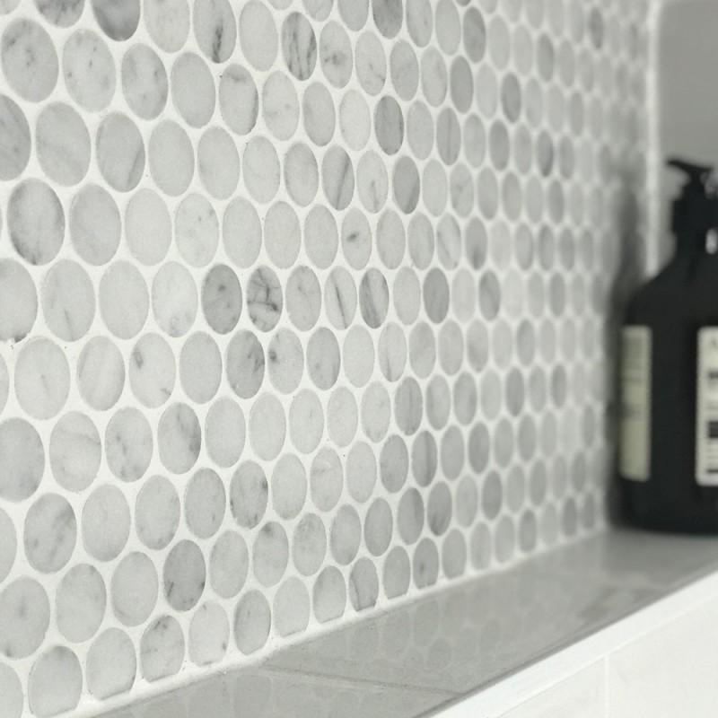 Carrara Penny Round Honed Marble Bathroom Mosaic