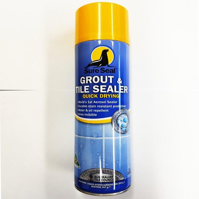 sure seal quick dry grout tile aerosol sealer 300gm marble ceramic corp
