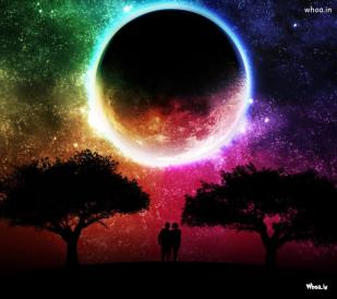 Love couple with moon hd wallpaper for mobile