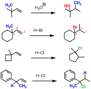 Addition to alkenes accompanied by 1,2-alkyl shift