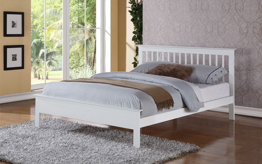 Flintshire Pentre Hardwood White Finish Bed Frame