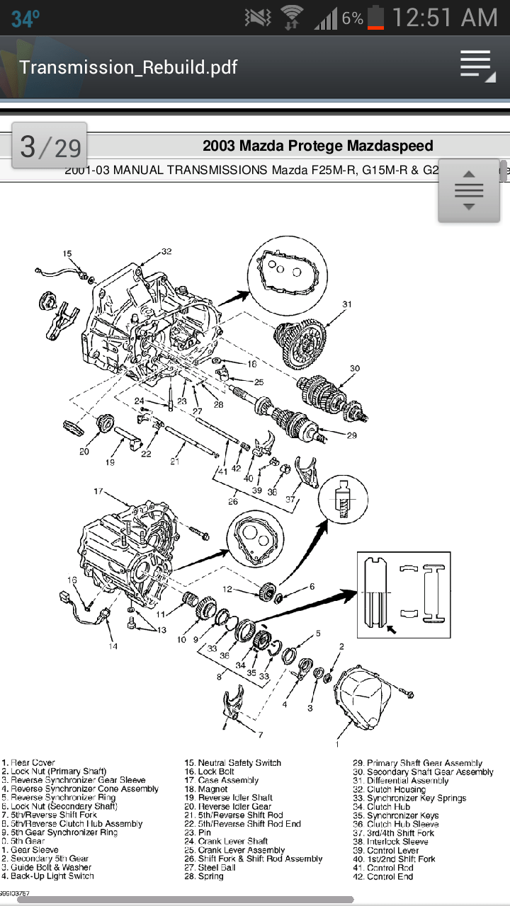 [Exploded View Of 2000 Mazda 626 Manual Gearbox