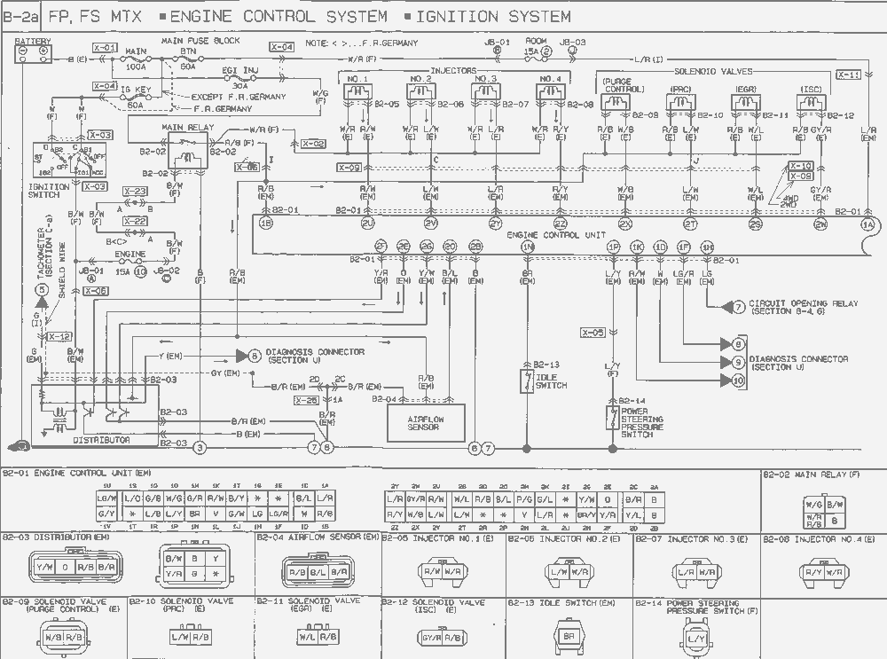 1998 Mazda 626 Engine Compartment Diagram. Mazda. Wiring