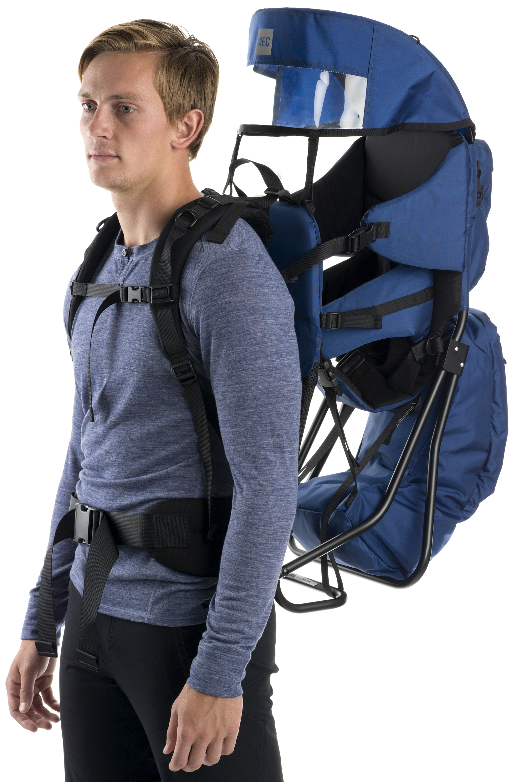 kid carrying hiking backpack