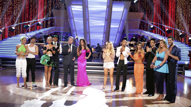 """DANCING WITH THE STARS - """"Episode 1208"""" - The pressure mounted this week as five remaining pairs performed two individual dances, one ballroom number and one """"Instant Dance"""" -- in which couples had to master a number to music they had been given for the first time after the show's broadcast had begun -- on """"Dancing with the Stars,"""" MONDAY, MAY 9 (8:00-10:01 p.m., ET/PT), on ABC. (ABC/ADAM TAYLOR)CHELSEA KANE, MARK BALLAS, KYM JOHNSON, HINES WARD, TOM BERGERON, BROOKE BURKE, CHELSIE HIGHTOWER, ROMEO, KARINA SMIRNOFF, RALPH MACCHIO, KIRSTIE ALLEY, MAKSIM CHMERKOVKSIY"""