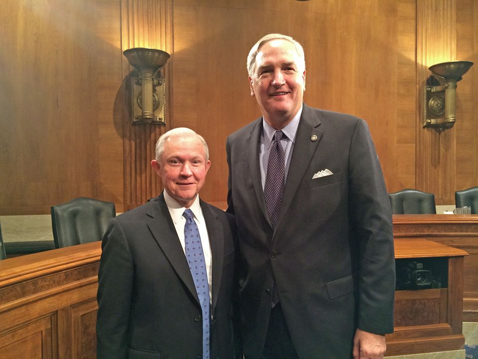 Strange with his predecessor, Attorney General Jeff Sessions, on Capitol Hill in 2014. (Courtesy Luther Strange Facebook page)