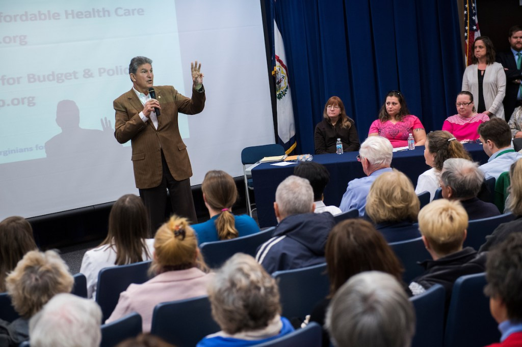 Manchin told attendees he was concerned about mental health coverage being adversely affected by the Republican health care plan. (Tom Williams/CQ Roll Call)