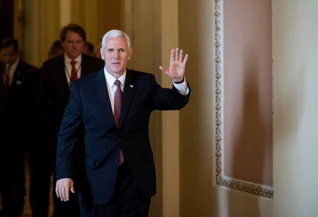 Vice President Mike Pence leaves the Senate floor following the confirmation vote on Supreme Court nominee Neil Gorsuch in the Capitol on Friday. (Bill Clark/CQ Roll Call)