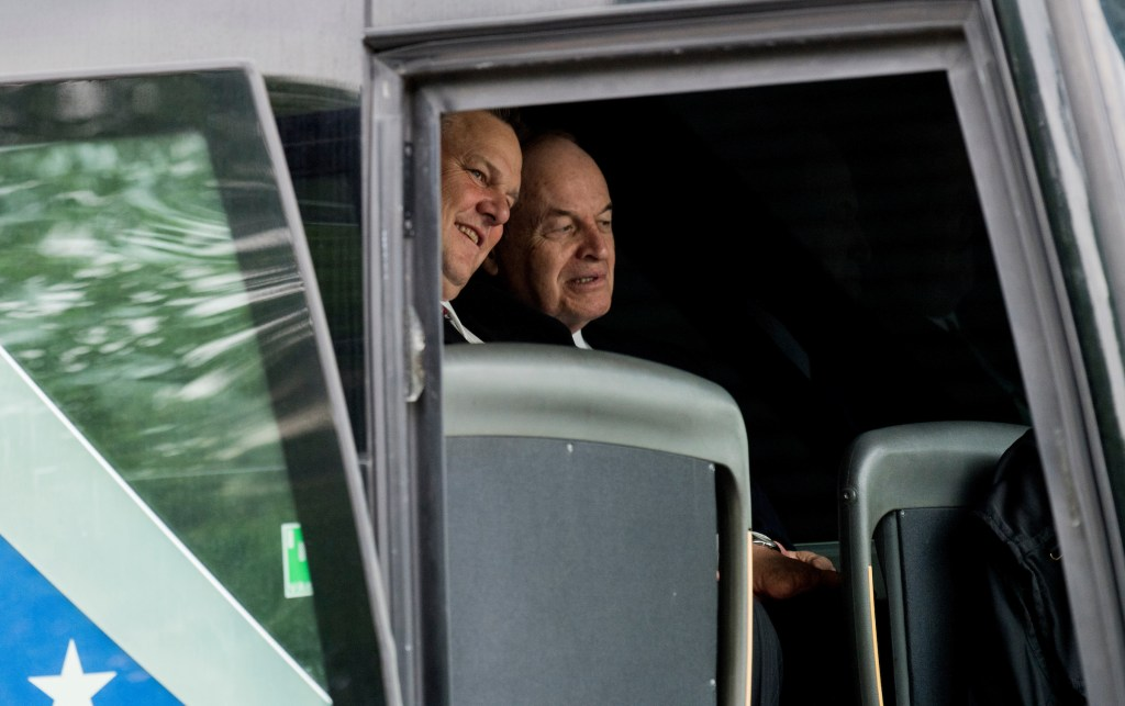 UNITED STATES - APRIL 26: Sen. Jon Tester, D-Mont., and Sen. Richard Shelby, R-Ala., sit in the front row of one of the buses transporting Senators to a briefing on North Korea at the White House on Wednesday, April 26, 2017. (Photo By Bill Clark/CQ Roll Call)