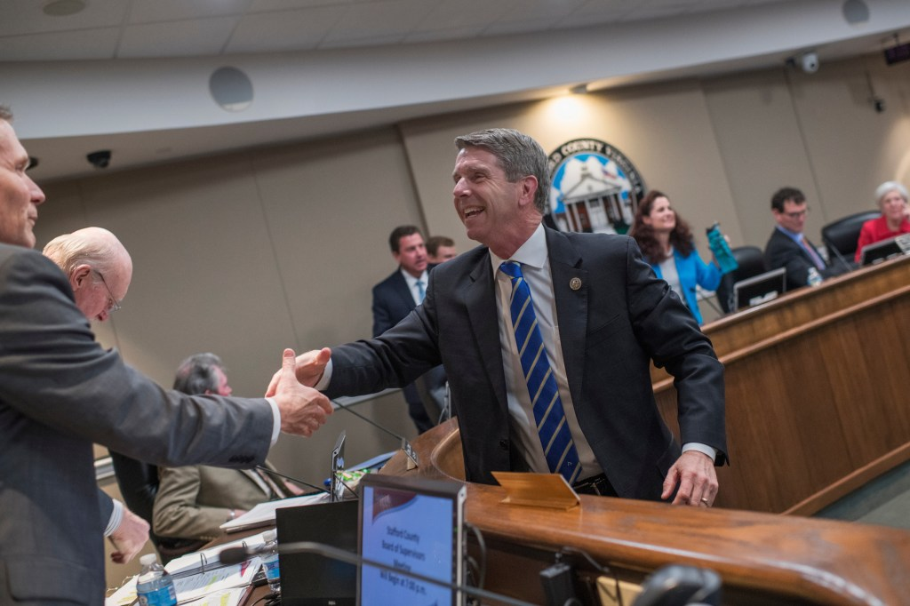 UNITED STATES - APRIL 18: Rep. Rob Wittman, R-Va., greets members of the Stafford County Board of Supervisors in Stafford, Va., before a meeting on April 18, 2017. (Photo By Tom Williams/CQ Roll Call)