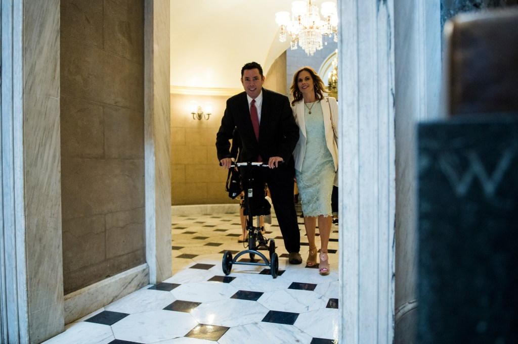 MAY 4: Rep. Jason Chaffetz, R-Utah, fresh off foot surgery, makes his way through Statuary Hall on his way to the House floor in the Capitol for the vote on repeal and replace of Obamacare (Bill Clark/CQ Roll Call)