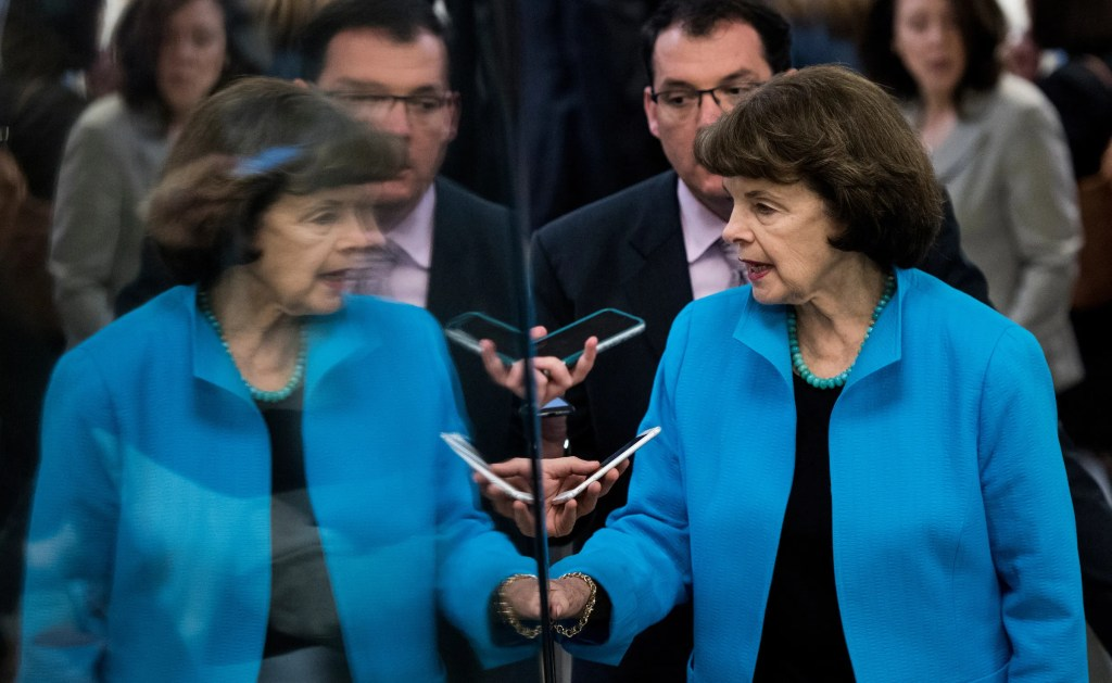 UNITED STATES - MAY 16: Sen. Dianne Feinstein, D-Calif., arrives in the Capitol for the Senate Democrats' policy lunch on Tuesday, May 16, 2017. (Photo By Bill Clark/CQ Roll Call)