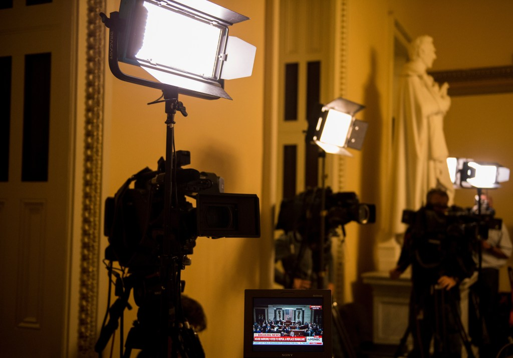 UNITED STATES - MAY 4: A television monitor at the TV stakeout shows proceeding on the House floor as Congress votes to repeal and replace Obamacare on Thursday, May 4, 2017. (Photo By Bill Clark/CQ Roll Call)