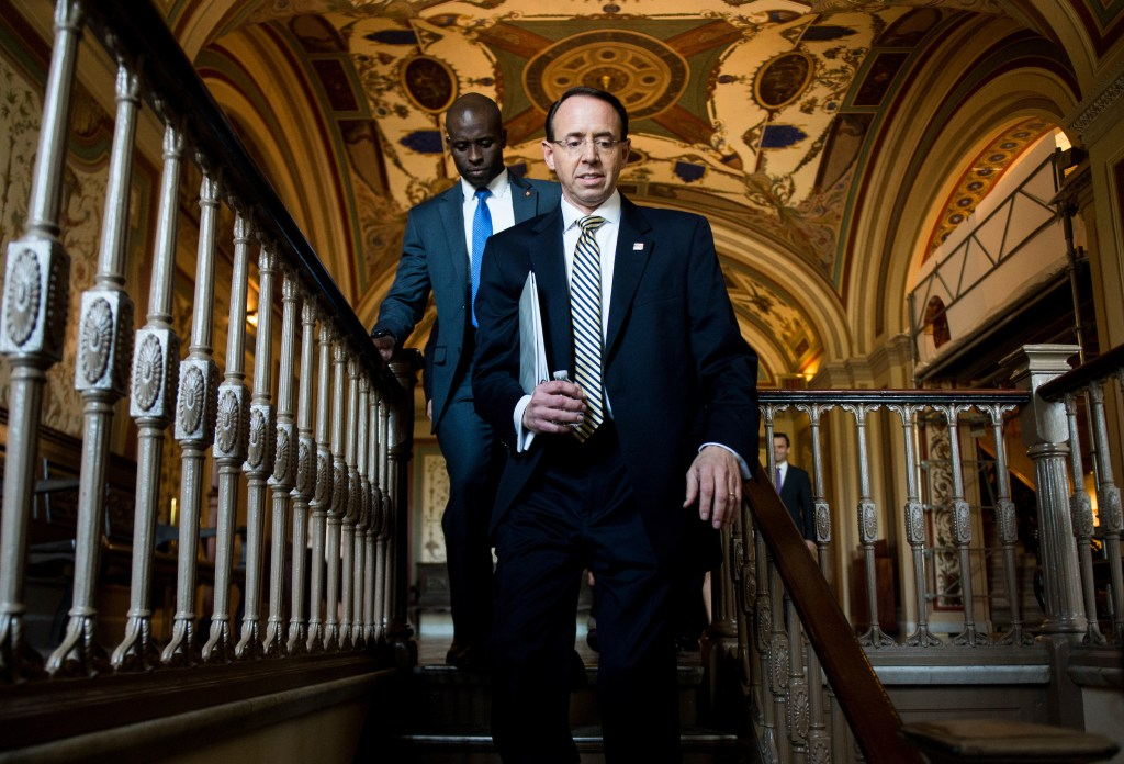 UNITED STATES - MAY 18: Deputy Attorney General Rod Rosenstein arrives in the Capitol to brief all 100 Senators on the firing of former FBI Director James Comey and the investigation into Russia's interference in the 2016 campaign on Thursday, May 18, 2017. (Photo By Bill Clark/CQ Roll Call)