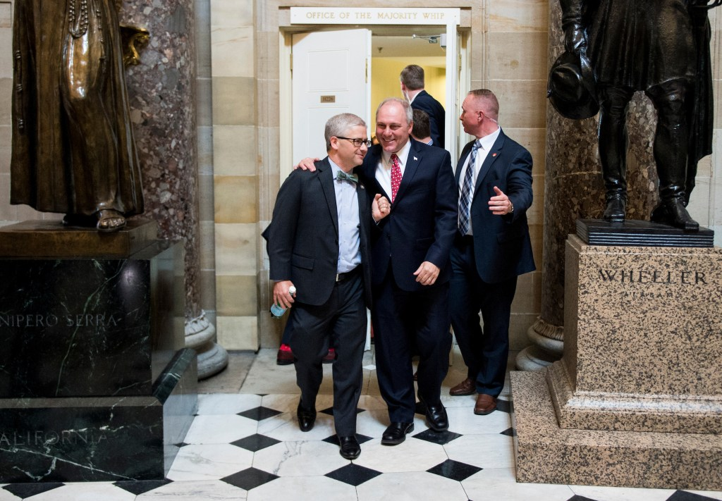 McHenry and Scalise, in this Thursday, May 4 file photo, lead a group of Republican members of Congress to the House floor for the votes on repeal and replace of Obamacare. (Bill Clark/CQ Roll Call file photo)