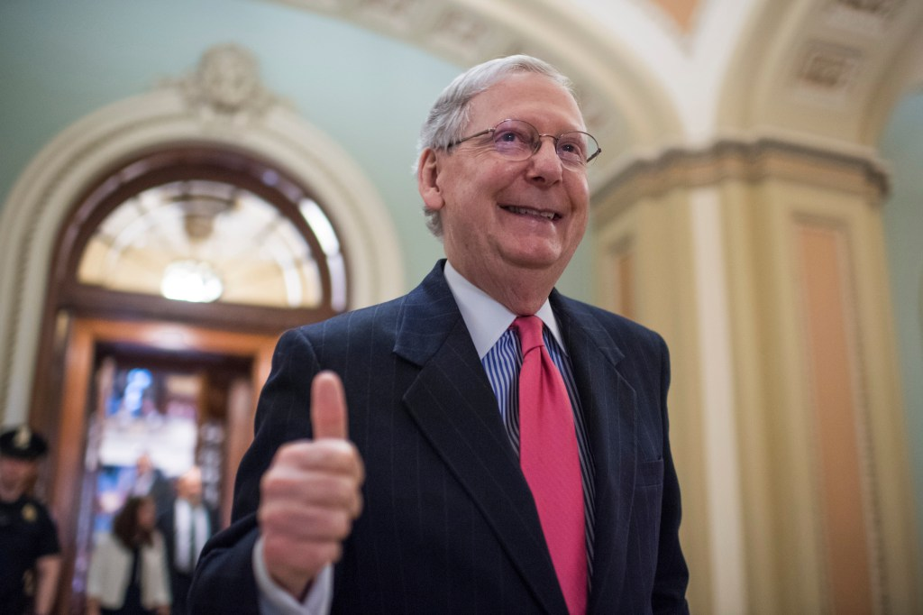 APRIL 6: Senate Majority Leader Mitch McConnell, R-Ky., gives a thumbs up after the Senate invoked the