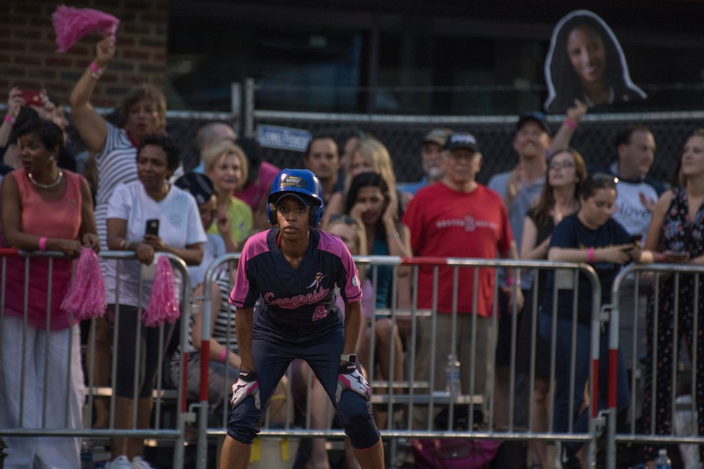 UNITED STATES - JUNE 21: Rep. Mia Love, R-Utah, plays in the Congressional Women's Softball game that pits Congresswomen against female journalists at Watkins Recreation Center on Capitol Hill, June 21, 2017. The game benefits the Young Survival Coalition that helps young women with breast cancer. The press team prevailed 2-1. (Photo By Tom Williams/CQ Roll Call)
