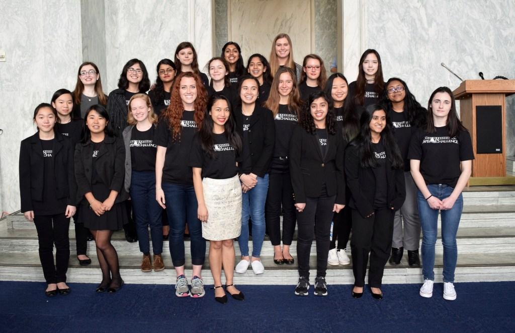 Medina, in white skirt, with the 2017 App Challenge female winners. (Courtesy Melissa Medina)