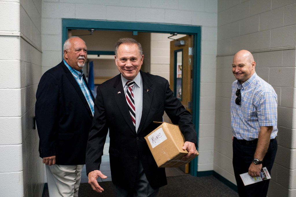 GOP candidate for U.S. Senate Roy Moore arrives for the candidates' forum in Valley, Ala., on Thursday, Aug. 3, 2017. The former Chief Justice of the Alabama Supreme Court is running in the special election to fill the seat vacated by Attorney General Jeff Sessions. (Bill Clark/CQ Roll Call)