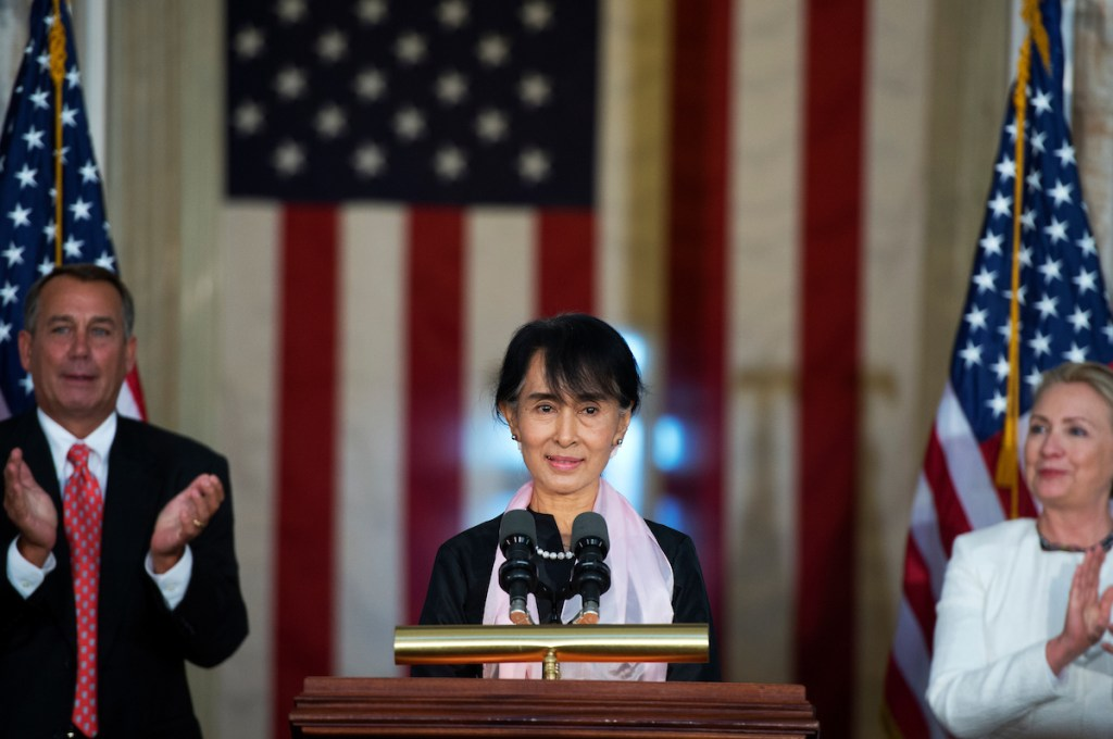 ung San Suu Kyi, speaks during a Congressional Gold Medal ceremony in the Capitol rotunda honoring her for
