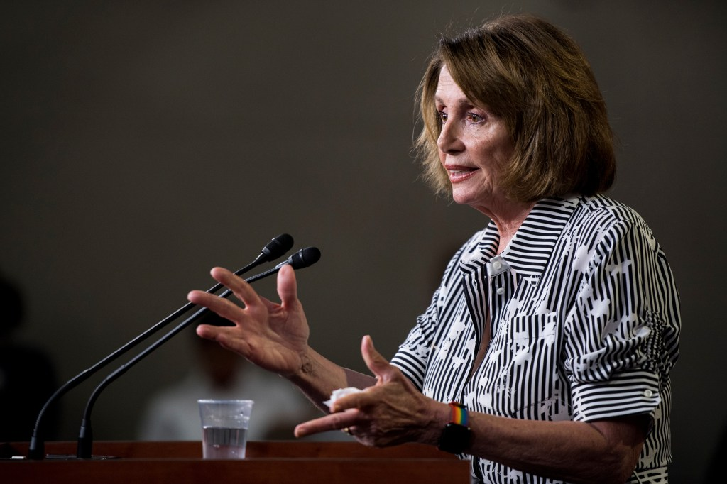 UNITED STATES - JULY 27: House Minority Leader Nancy Pelosi, D-Calif., holds her weekly on camera press conference in the Capitol on Thursday, July 27, 2017. (Photo By Bill Clark/CQ Roll Call)