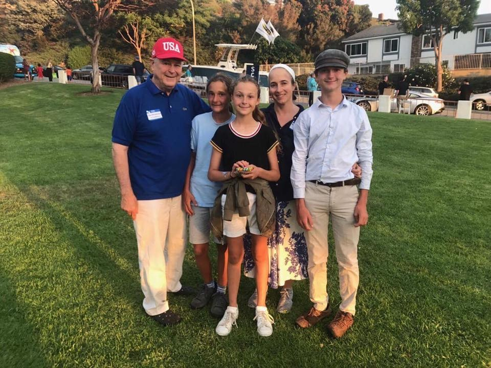 Triplets Annika, Tristen and Christian with Rep. Dana Rohrabacher and wife, Rhonda on Aug. 2. (Courtesy Rohrabacher's Facebook)