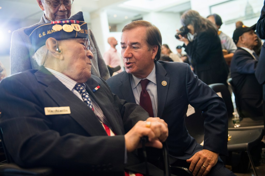 UNITED STATES - OCTOBER 25: Rep. Ed Royce, R-Calif., talks with Celestino Almeda, a veteran representing the Philippine Commonwealth Army, during a Congressional Gold Medal ceremony in Emancipation Hall to honor Filipino veterans of World War II on October 25, 2017. (Photo By Tom Williams/CQ Roll Call)