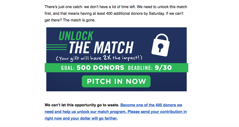 Indiana Sen. Joe Donnelly's campaign sent emails promoting its matching program before Saturday's fundraising deadline. (Screenshot)